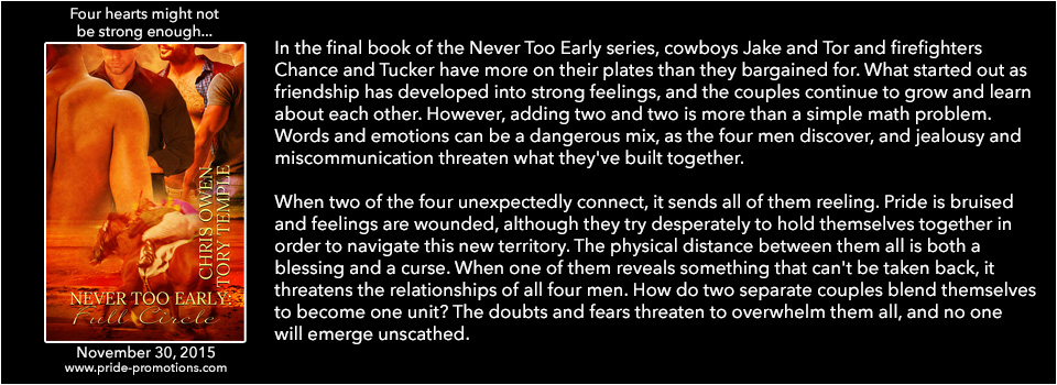 Buy Never Too Early: Full Circle by Chris Owen and Tory Temple on Amazon
