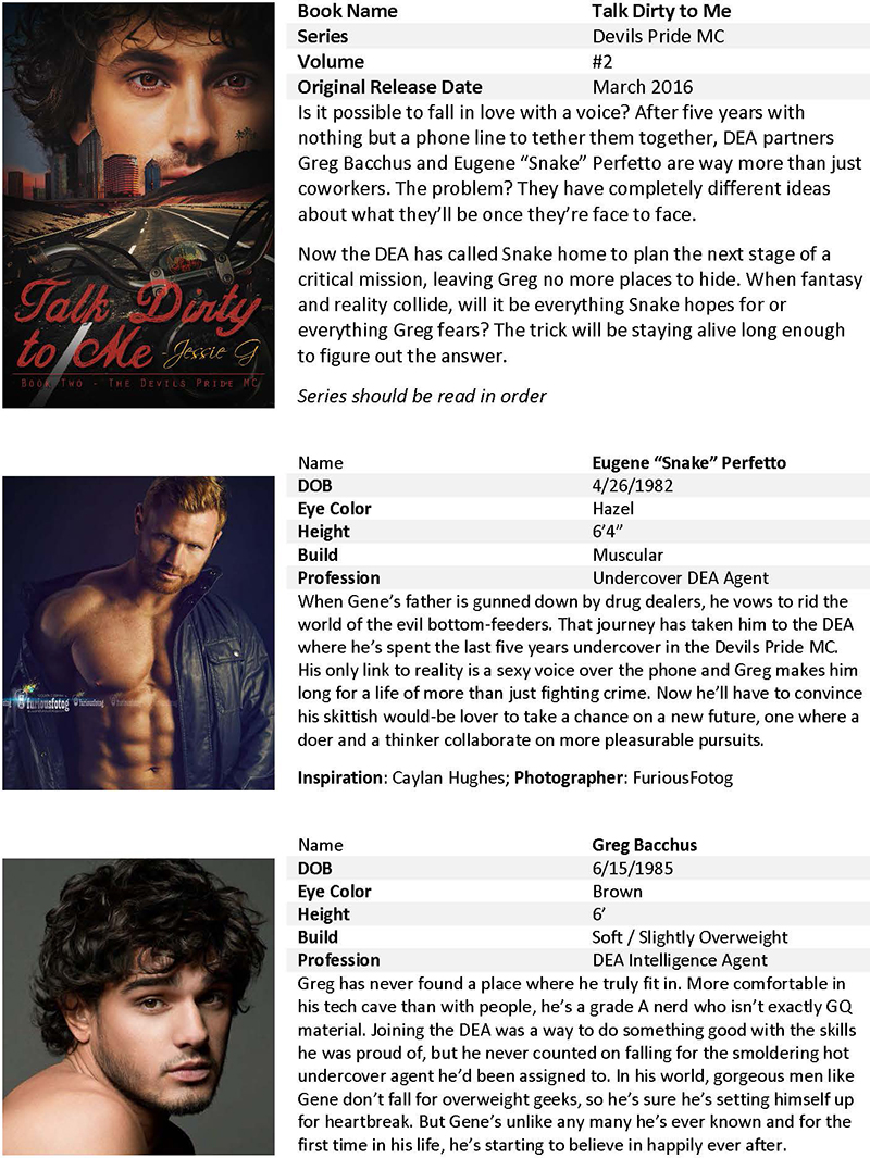 Talk Dirty to Me by Jessie G - Promo Sheet